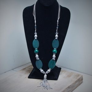 Chico's Green & Silver Beaded Statement Necklace